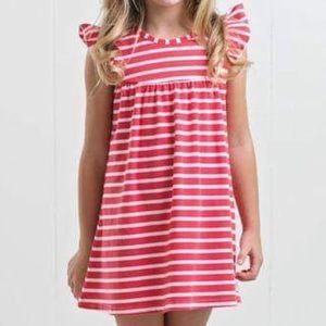 Ruffle Girl Dresses - Ruffle Girl Coral/White Pencil Stripe Pearl Dress